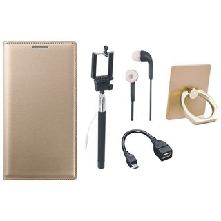 Samsung J7 Prime (  SM-G610F ) Leather Cover with Ring Stand Holder, Selfie Stick, Earphones and OTG Cable