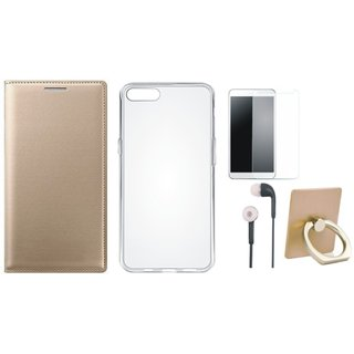 Samsung J7 Prime (  SM-G610F ) Flip Cover with Ring Stand Holder, Silicon Back Cover, Earphones and Tempered Glass