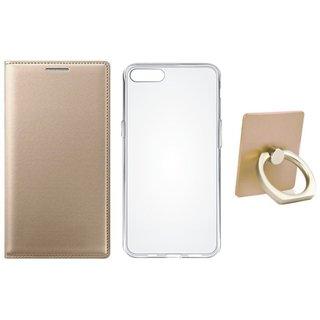 Oppo A37F Leather Flip Cover with with Ring Stand Holder, Silicon Back Cover, Free Silicon Back Cover