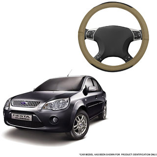Autofurnish (AFSC-717 Hazel Beige) Leatherite Car Steering Cover For Ford Fiesta Classic