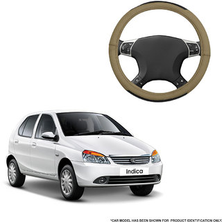 Autofurnish (AFSC-717 Hazel Beige) Leatherite Car Steering Cover For Tata Indica