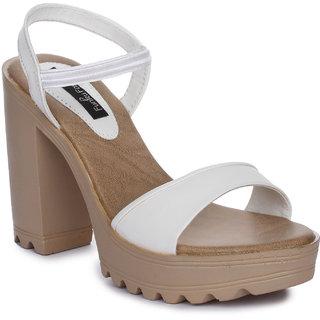Funku Fashion White Block Heels