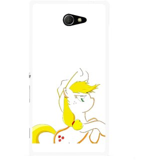 Snooky Printed Horse Cartoon Mobile Back Cover For Sony Xperia M2 - Multicolour