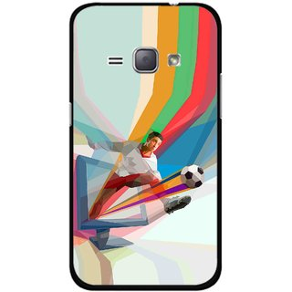 Snooky Printed Kick FootBall Mobile Back Cover For Samsung Galaxy J1 - Multicolour