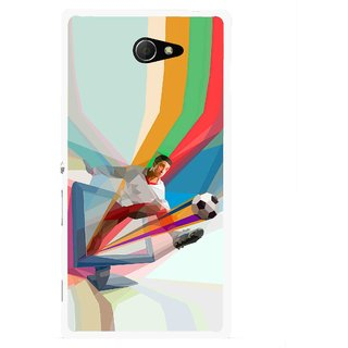 Snooky Printed Kick FootBall Mobile Back Cover For Sony Xperia M2 - Multicolour