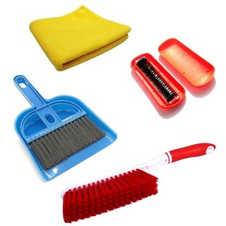 Stylewell Combo Of Mini Dustpan  Broom Set, Microfiber Towel Cloth, Carpet And Magic Roller Hand Dust Cleaning Brush
