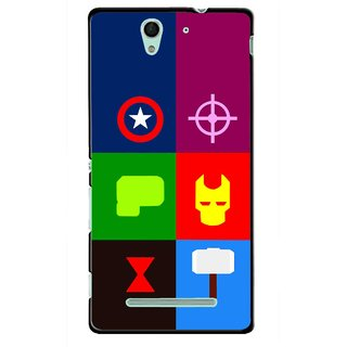 Snooky Printed Multi Heros Mobile Back Cover For Sony Xperia C3 - Multicolour