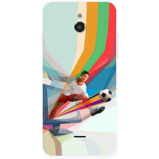 Snooky Printed Kick FootBall Mobile Back Cover For Infocus M2 - Multicolour