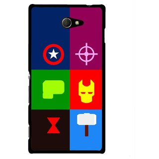 Snooky Printed Multi Heros Mobile Back Cover For Sony Xperia M2 - Multicolour
