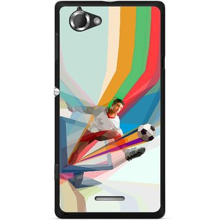 Snooky Printed Kick FootBall Mobile Back Cover For Sony Xperia L - Multicolour