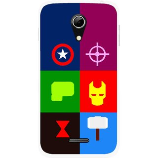 Snooky Printed Multi Heros Mobile Back Cover For Micromax A114 - Multicolour