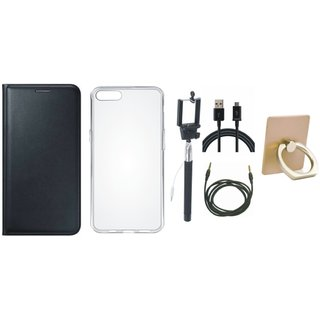 Lenovo K4 Note Luxury Cover with Ring Stand Holder, Silicon Back Cover, Selfie Stick, USB Cable and AUX Cable