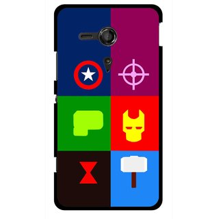 Snooky Printed Multi Heros Mobile Back Cover For Sony Xperia SP - Multicolour