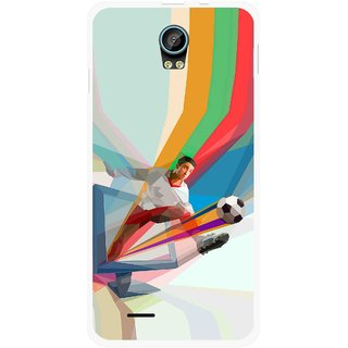 Snooky Printed Kick FootBall Mobile Back Cover For Intex Aqua Life 2 - Multicolour