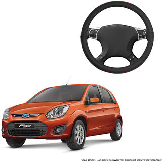 Autofurnish (AFSC-720 Tan Black) Leatherite Car Steering Cover For Ford Figo