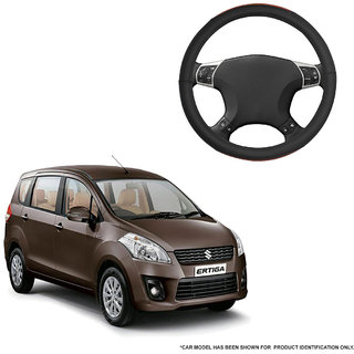 Autofurnish (AFSC-720 Tan Black) Leatherite Car Steering Cover For Maruti Ertiga