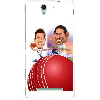 Snooky Printed Play Cricket Mobile Back Cover For Sony Xperia C3 - Multicolour