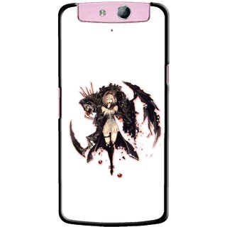 Snooky Printed Kungfu Girl Mobile Back Cover For Oppo N1 - Multicolour