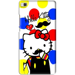 Snooky Printed moustache Kitty Mobile Back Cover For Huawei Ascend P8 - Multi
