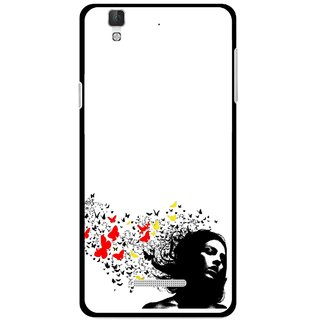 Snooky Printed Butterfly Girl Mobile Back Cover For Micromax YU YUREKA - Multi