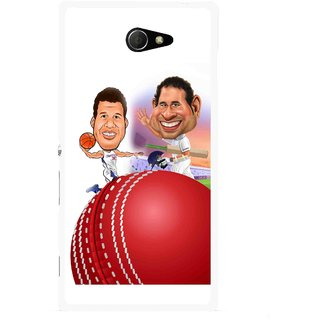 Snooky Printed Play Cricket Mobile Back Cover For Sony Xperia M2 - Multicolour