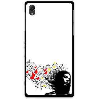 Snooky Printed Butterfly Girl Mobile Back Cover For Sony Xperia Z1 - Multi