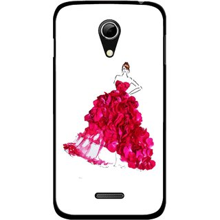 Snooky Printed Rose Girl Mobile Back Cover For Micromax A114 - Multicolour
