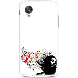 Snooky Printed Butterfly Girl Mobile Back Cover For Lg Google Nexus 5 - Multi