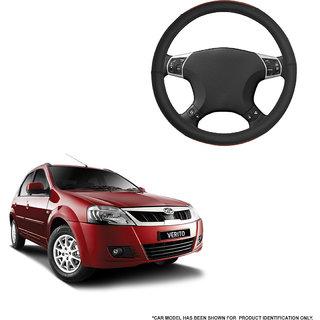 Autofurnish (AFSC-720 Tan Black) Leatherite Car Steering Cover For Mahindra Verito