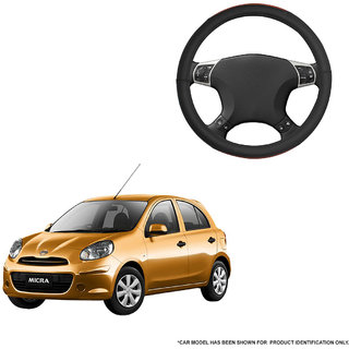 Autofurnish (AFSC-720 Tan Black) Leatherite Car Steering Cover For Nissan Micra