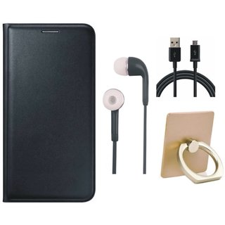 Samsung J7 2016 ( SM-J710 ) Flip Cover with Ring Stand Holder, Earphones and USB Cable