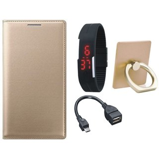 Samsung J7 Prime (  SM-G610F ) Leather Flip Cover with with Ring Stand Holder, Digital Watch and OTG Cable