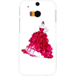 Snooky Printed Rose Girl Mobile Back Cover For HTC One M8 - Multicolour