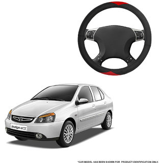Autofurnish (AFSC-721 Red Black) Leatherite Car Steering Cover For Tata Indigo eCS