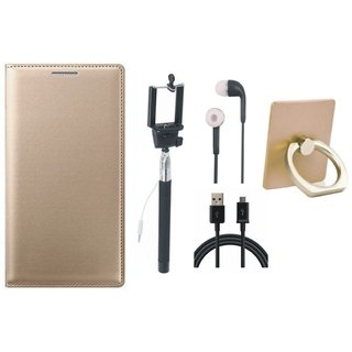 Motorola Moto C Leather Flip Cover with with Ring Stand Holder, Selfie Stick, Earphones and USB Cable