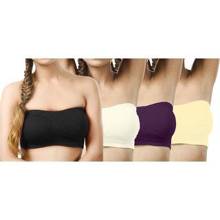 Modern Girl's Black,Cream,Purple,Cream Tube Bra (Pack of 4)