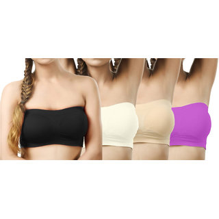 Modern Girl's Black,Cream,Tan,Purple Tube Bra (Pack of 4)