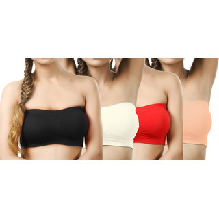 Modern Girl's Black,Cream,Red,Brown Tube Bra (Pack of 4)
