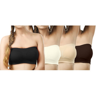 Modern Girl's Black,Cream,Tan,Crimson Tube Bra (Pack of 4)