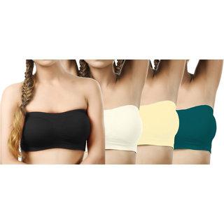 Modern Girl's Black,Cream,Cream,Teal Tube Bra (Pack of 4)