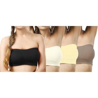 Modern Girl's Black,Cream,Cream,Beige Tube Bra (Pack of 4)