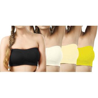 Modern Girl's Black,Cream,Cream,Mustard Tube Bra (Pack of 4)