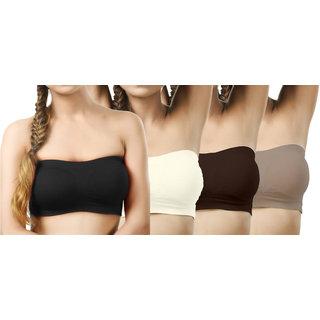 Modern Girl's Black,Cream,Crimson,Beige Tube Bra (Pack of 4)