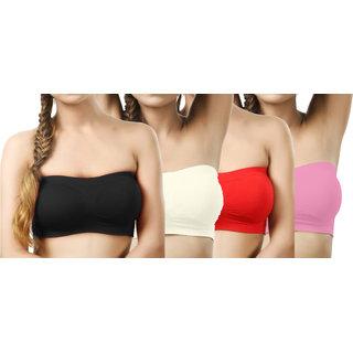 Modern Girl's Black,Cream,Red,Coral Tube Bra (Pack of 4)