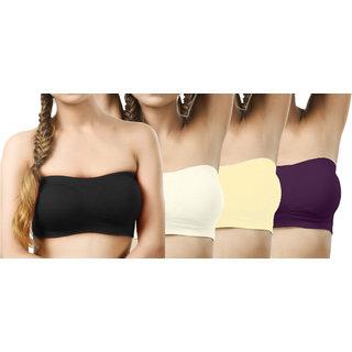 Modern Girl's Black,Cream,Cream,Purple Tube Bra (Pack of 4)