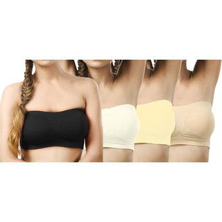 Modern Girl's Black,Cream,Cream,Tan Tube Bra (Pack of 4)