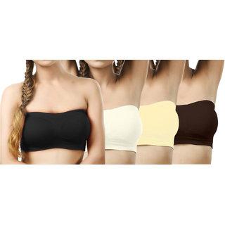Modern Girl's Black,Cream,Cream,Crimson Tube Bra (Pack of 4)