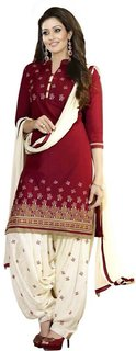 TexStile Red And Cream Colour Cotton Embroidery Salwar Suit For womens (DMBannoEm)