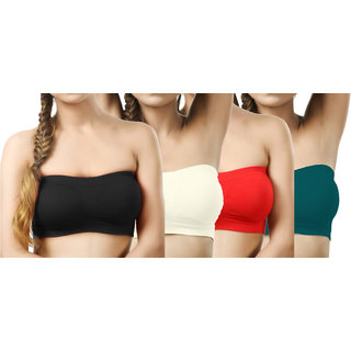 Modern Girl's Black,Cream,Red,Teal Tube Bra (Pack of 4)