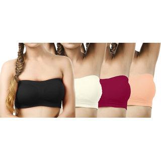 Modern Girl's Black,Cream,Crimson,Brown Sports Bra (Pack of 4)